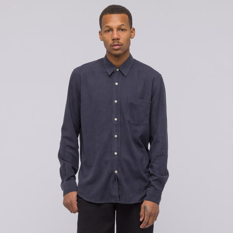 Our Legacy Classic Shirt in Navy Silk - Notre