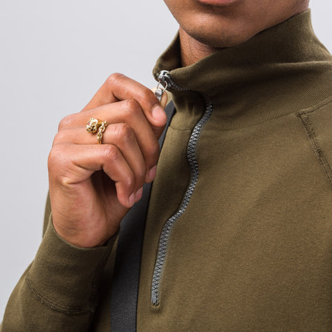 Our Legacy Half Zip Funnel Sweatshirt in Dark Olive - Notre
