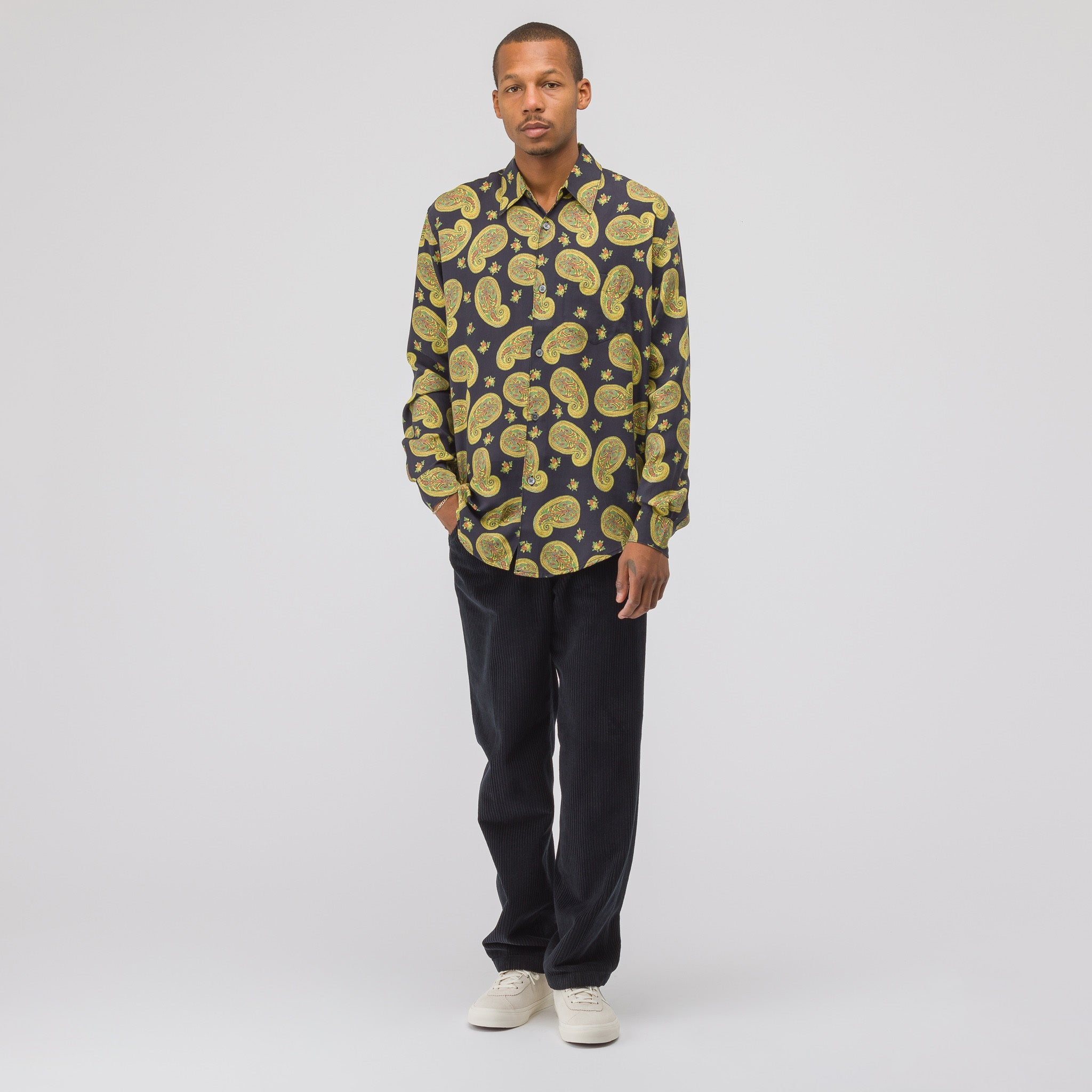 Initial Shirt in Large Black Paisley