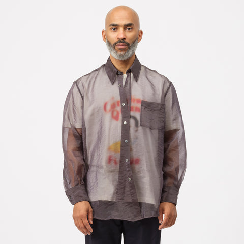 Our Legacy Less Borrowed Shirt in Grey Organza - Notre