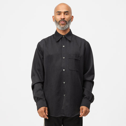 Our Legacy Policy Shirt in Shiny Black Twill - Notre