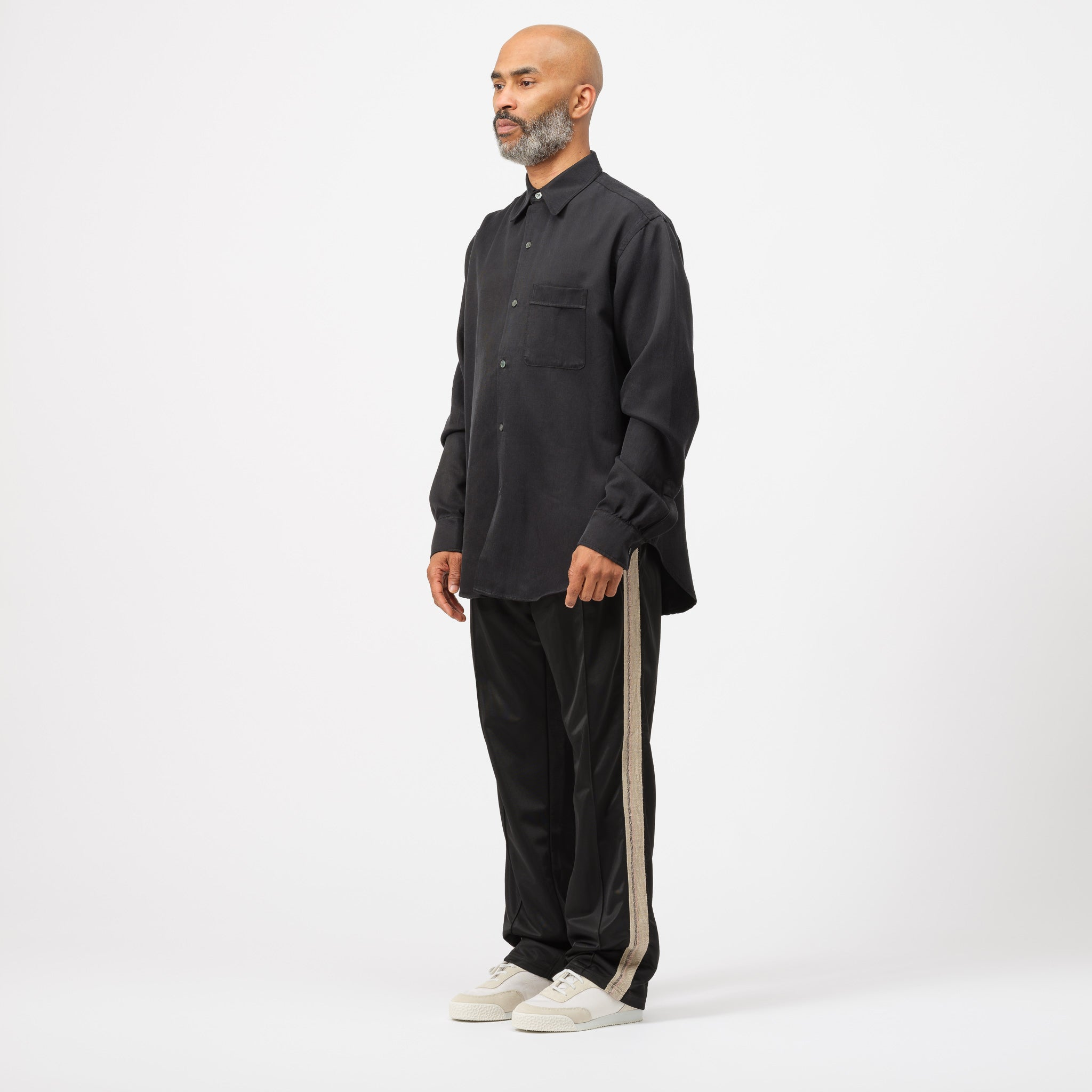 Policy Shirt in Shiny Black Twill