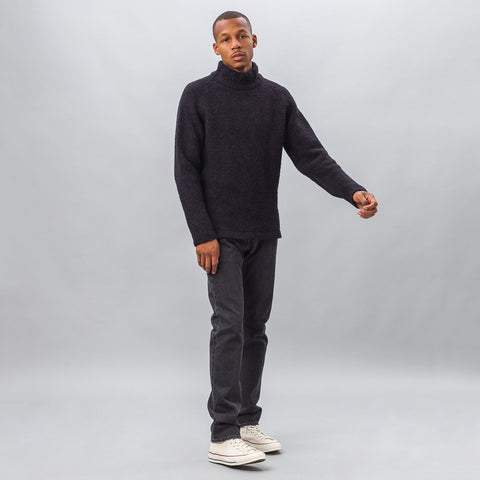 Our Legacy Raglan Turtleneck in Black Needled - Notre