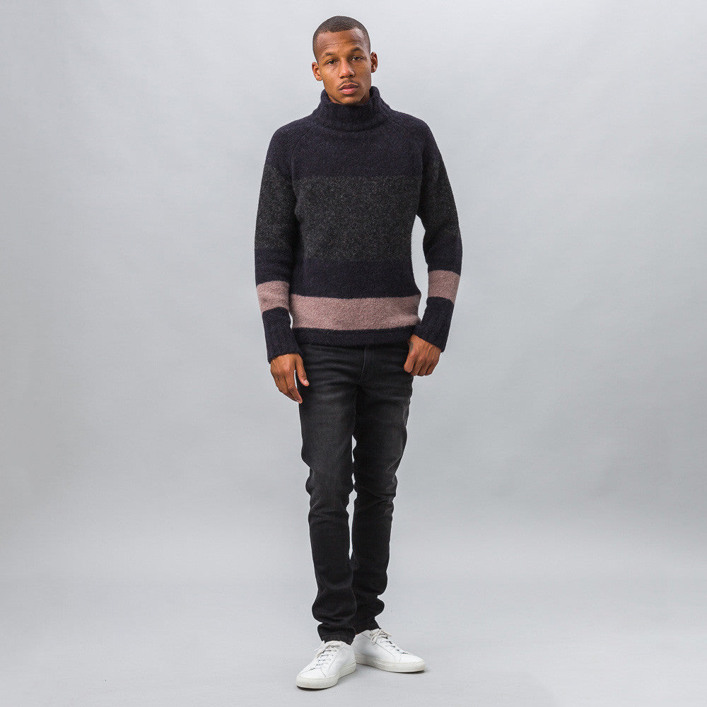 Our Legacy - Raglan Turtleneck in Striped Needled - Notre - 1