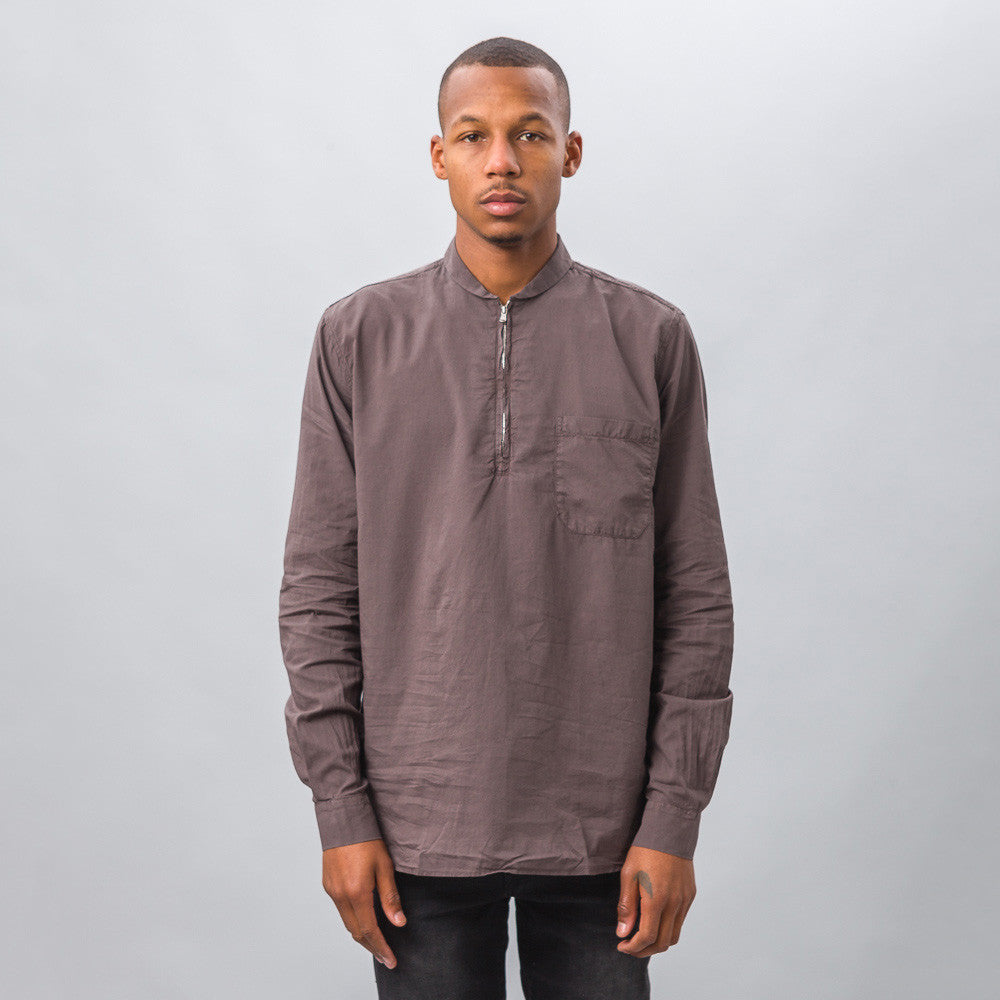Our Legacy Shawl Zip Shirt in Pigment Brown Model Shot