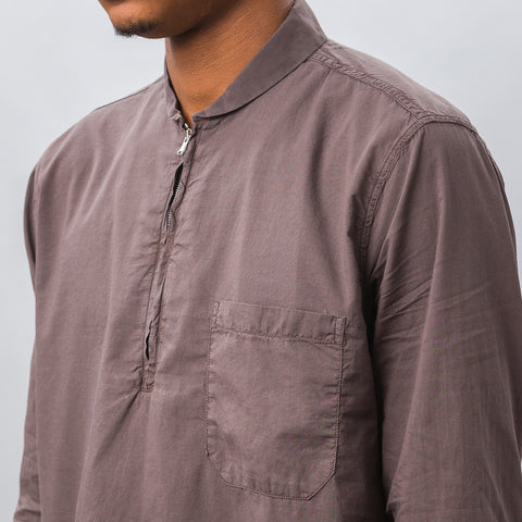 Our Legacy Shawl Zip Shirt in Pigment Brown - Notre