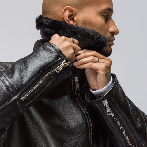 Our Legacy Shearling Flight Jacket in Black - Notre