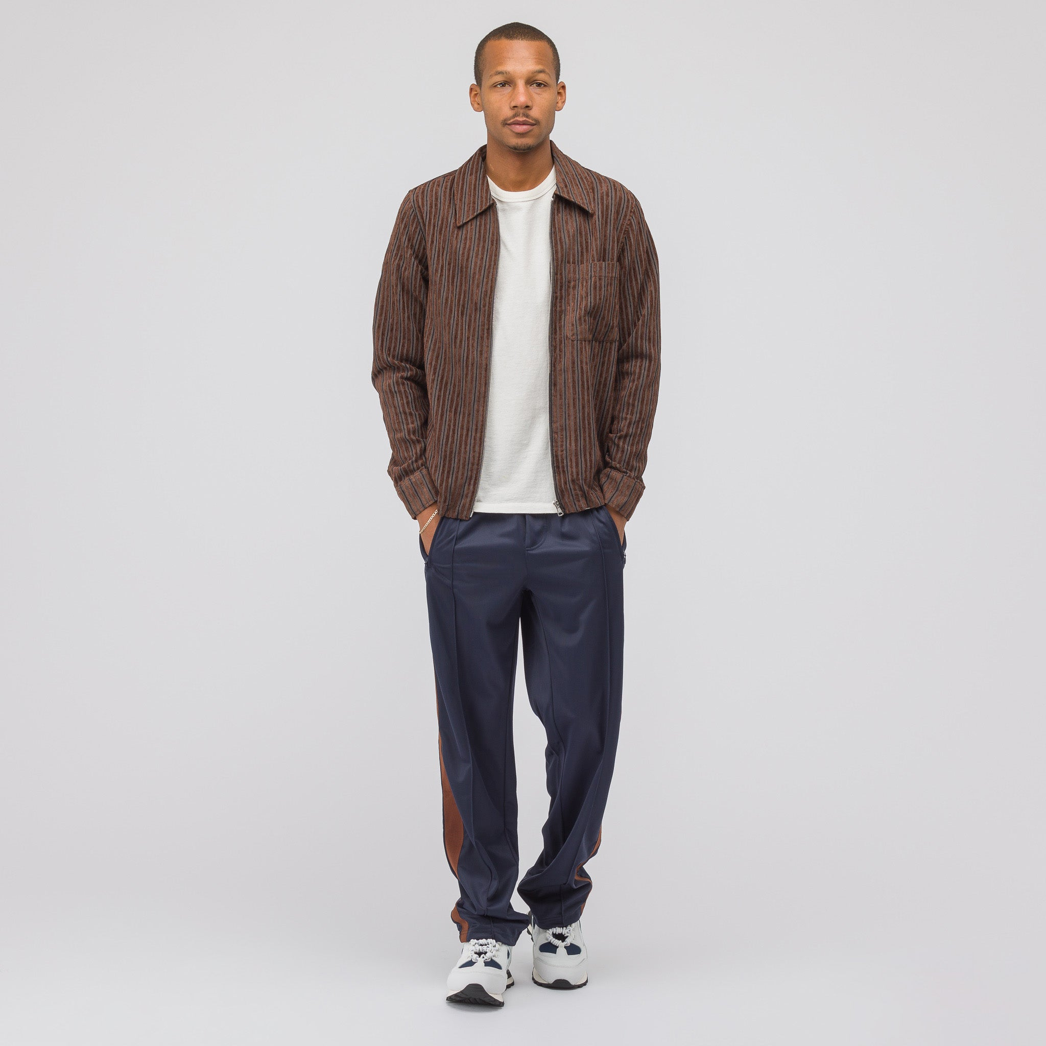 Side Stripe Track Pants in Navy/Brown