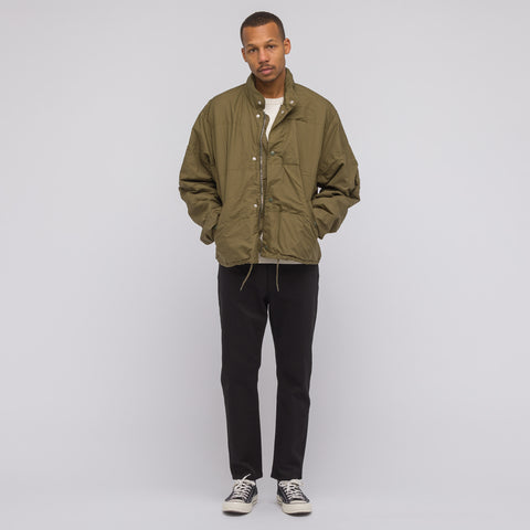 Our Legacy Toile Puffa Jacket in Olive Caterpillar Nylon - Notre