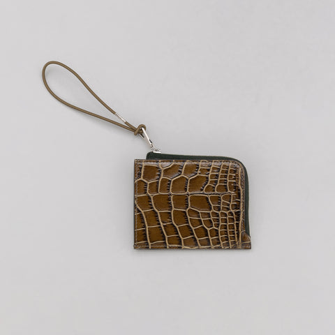 Our Legacy Turner Zip Wallet in Green Crocodile - Notre