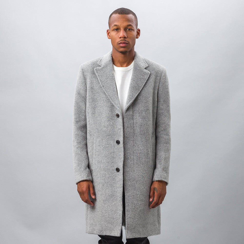 Our Legacy Unconstructed Classic Coat in Grey Cilium Wool Model Shot