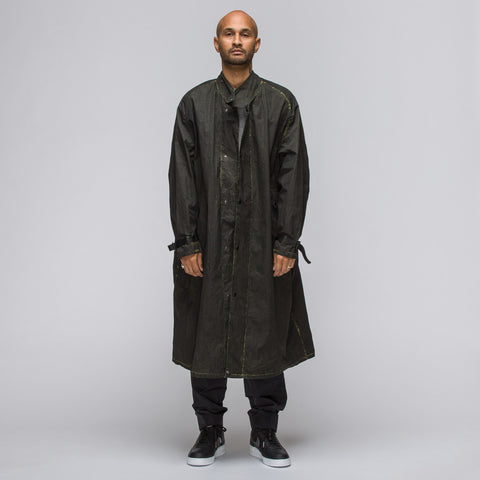 Our Legacy Waxed Long Cape Coat in Black Solaro Nylon - Notre