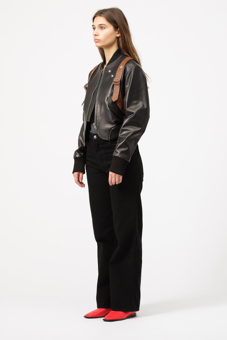 Pihakapi Leather Bomber with Holster Belt in Black - Notre