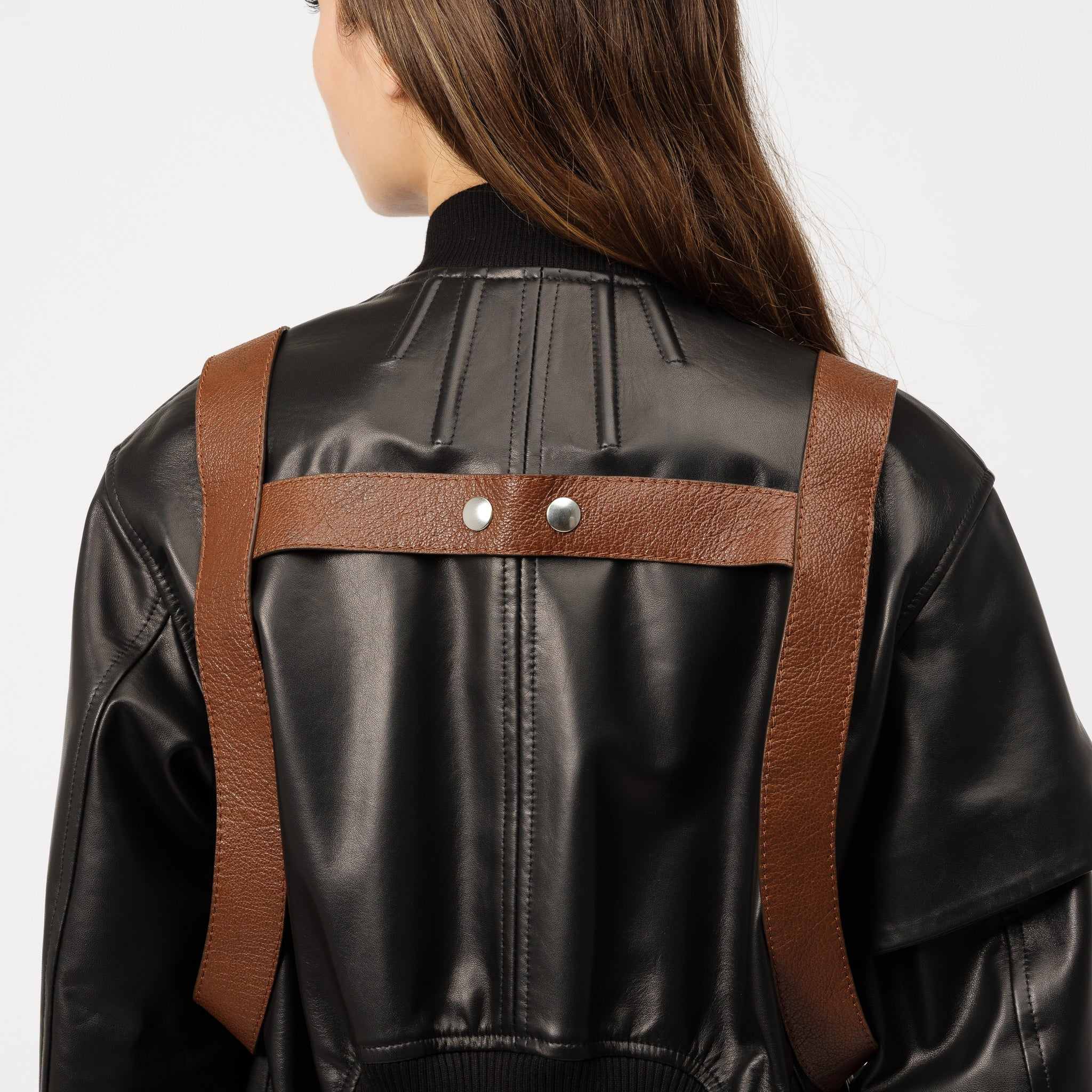 Leather Bomber with Holster Belt in Black/Warm Umber