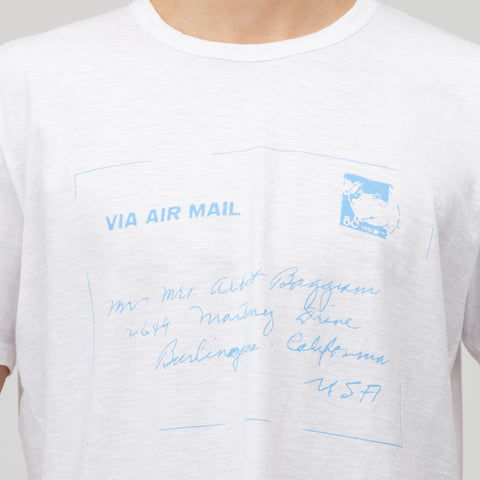 Reese Cooper Air Mail T-Shirt in White/Blue - Notre