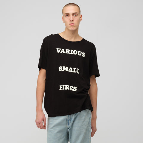 Reese Cooper Various Small Fires T-Shirt in Black/White - Notre