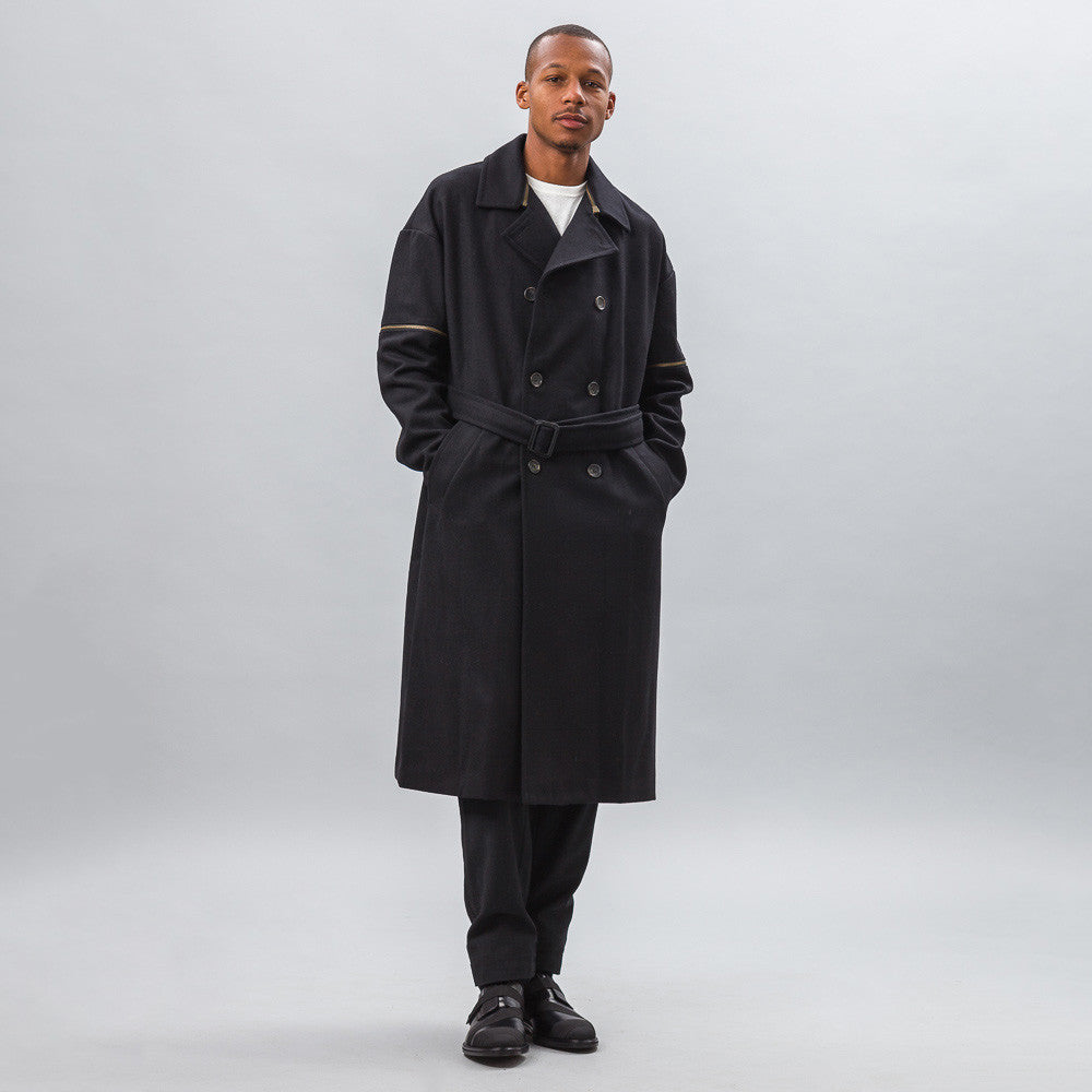 Robert Geller Daniel Zipper Sleeve Trench in Black Model Shot