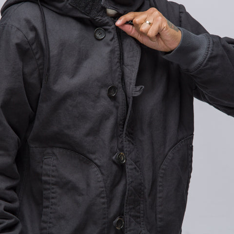 Robert Geller Dyed Hooded Bomber in Black - Notre
