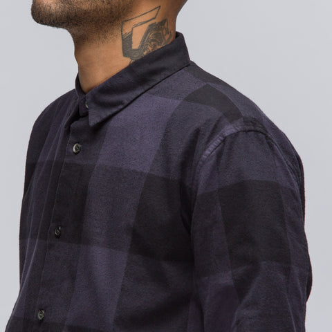 Robert Geller Long Plaid Shirt in Charcoal - Notre
