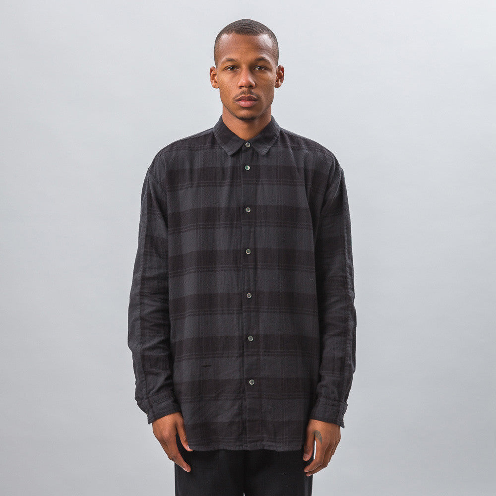 Robert Geller - Plaid Combo Shirt in Charcoal - Notre - 1