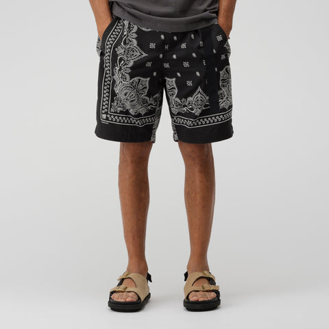 sacai Bandana Print Shorts in Black - Notre