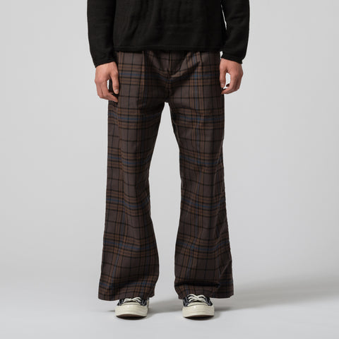 sacai Belted Wide Leg Pant in Brown/Blue Plaid - Notre