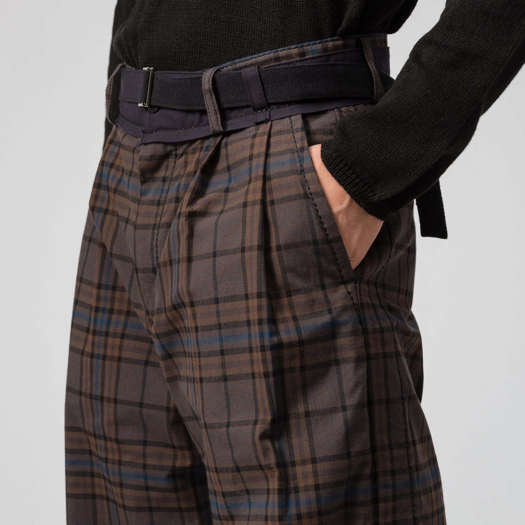 Belted Wide Leg Pant in Brown/Blue Plaid