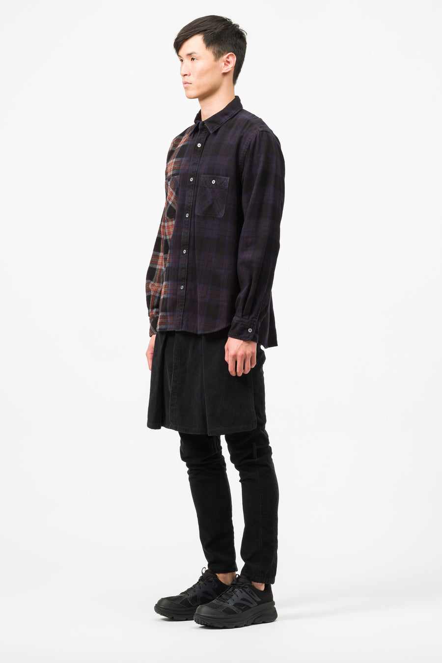 sacai Check Shirt in Navy/Brown - Notre