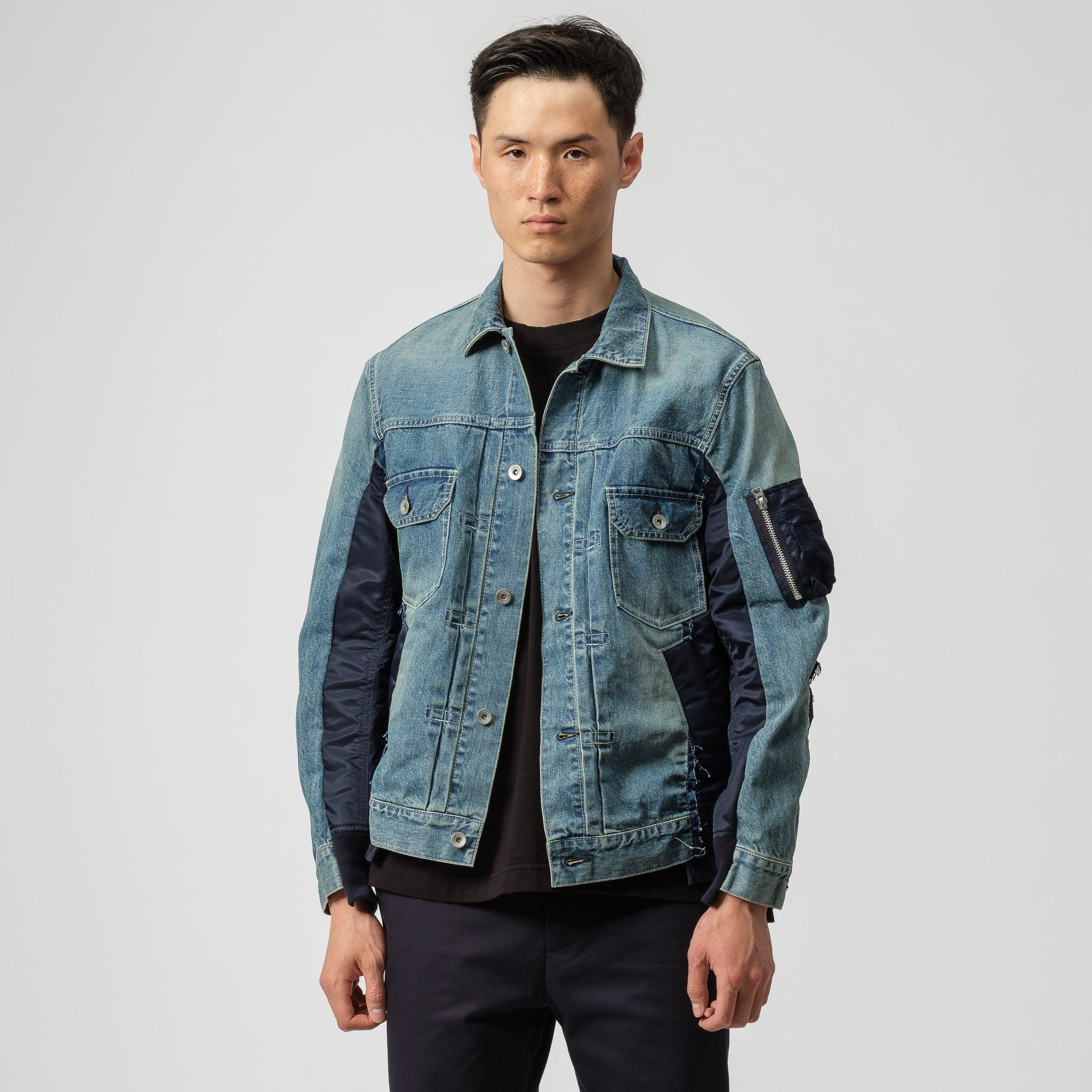 Denim Jacket in Light Blue/Navy