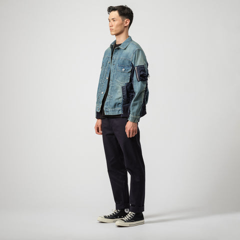 sacai Denim Jacket in Light Blue/Navy - Notre
