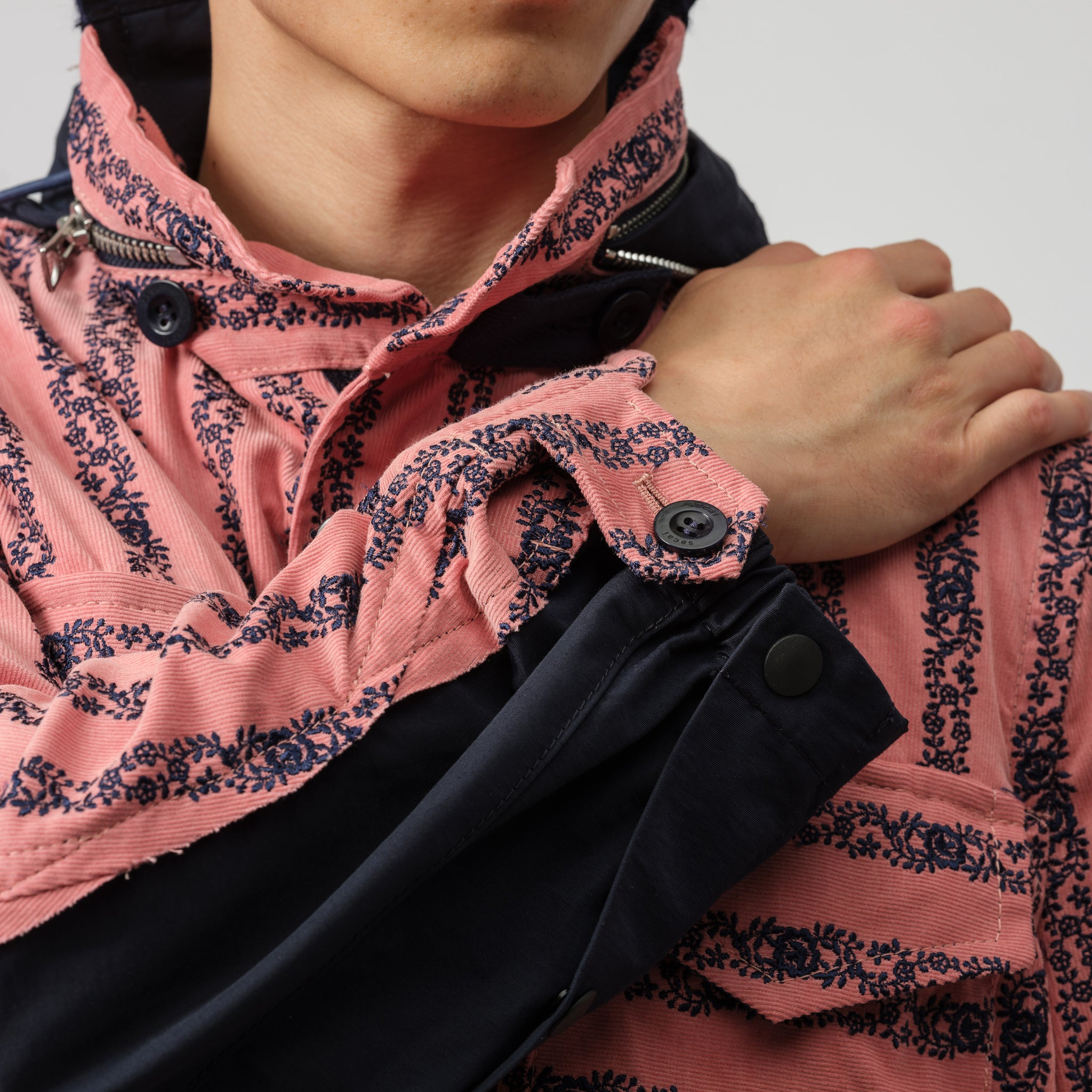 Floral Embroidered Corduroy Jacket in Pink