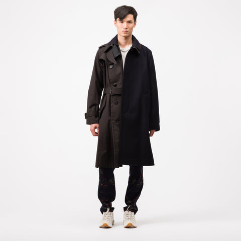 Melton Coat in Navy/Black