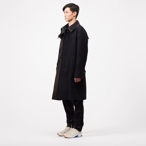 sacai Melton Coat in Navy/Black - Notre