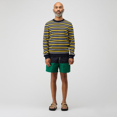 sacai Nylon Grosgrain Swim Shorts in Green/Navy/Beige - Notre