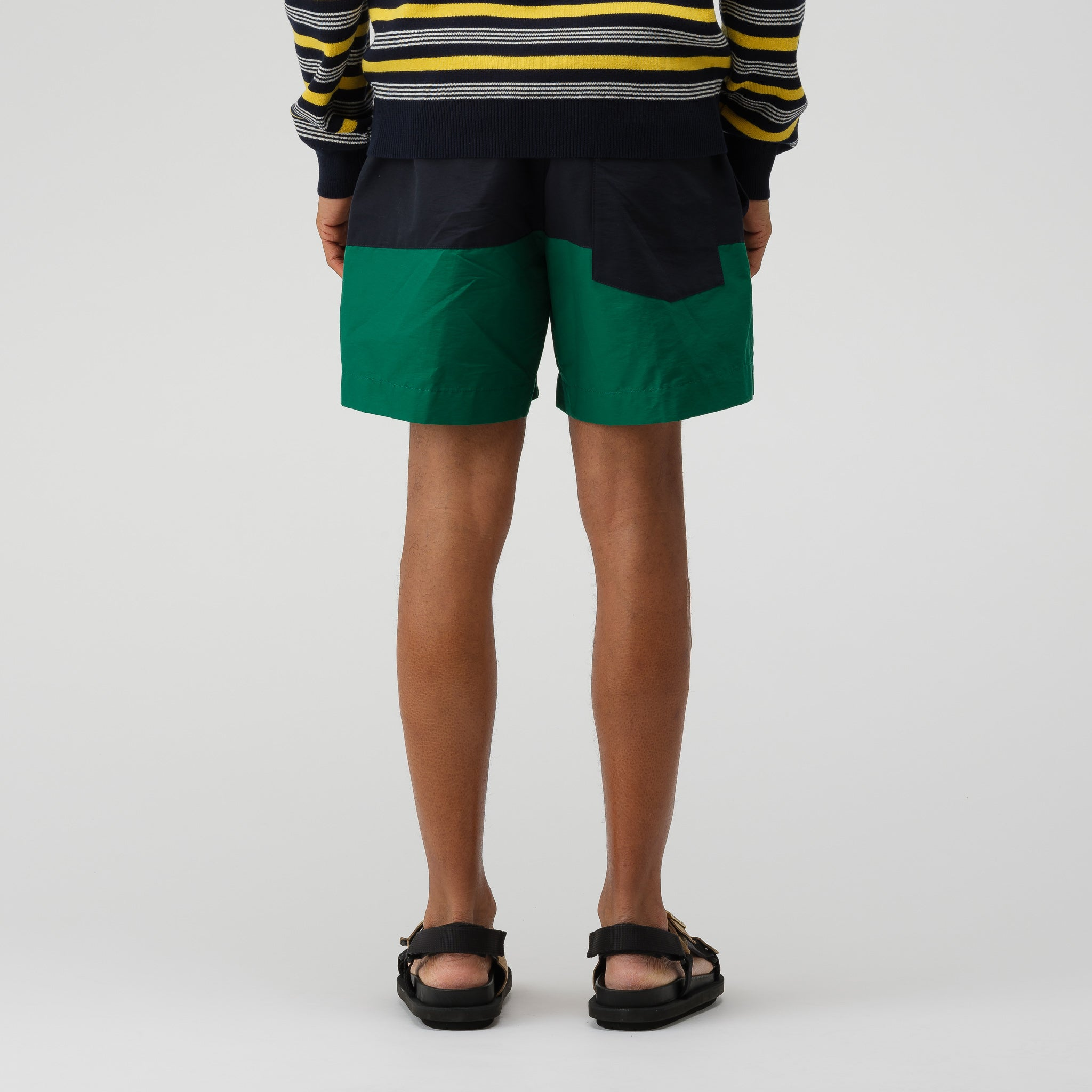 Nylon Grosgrain Swim Shorts in Green/Navy/Beige