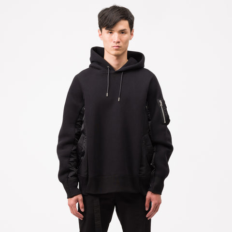 sacai Sponge Sweat X MA-1 Hoodie in Black - Notre