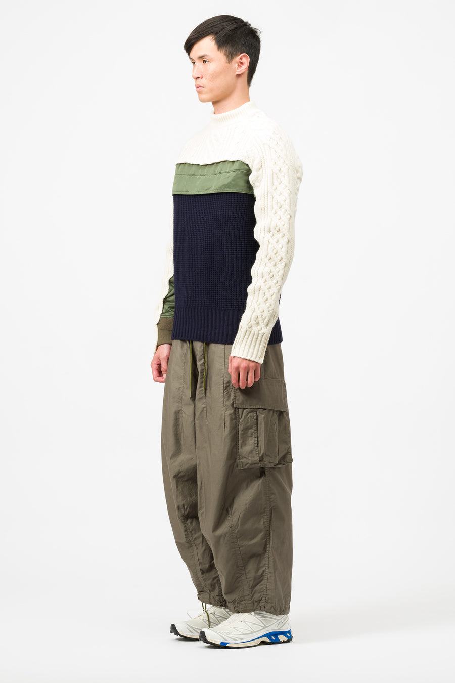 sacai Wool Pullover in Off White/Khaki - Notre