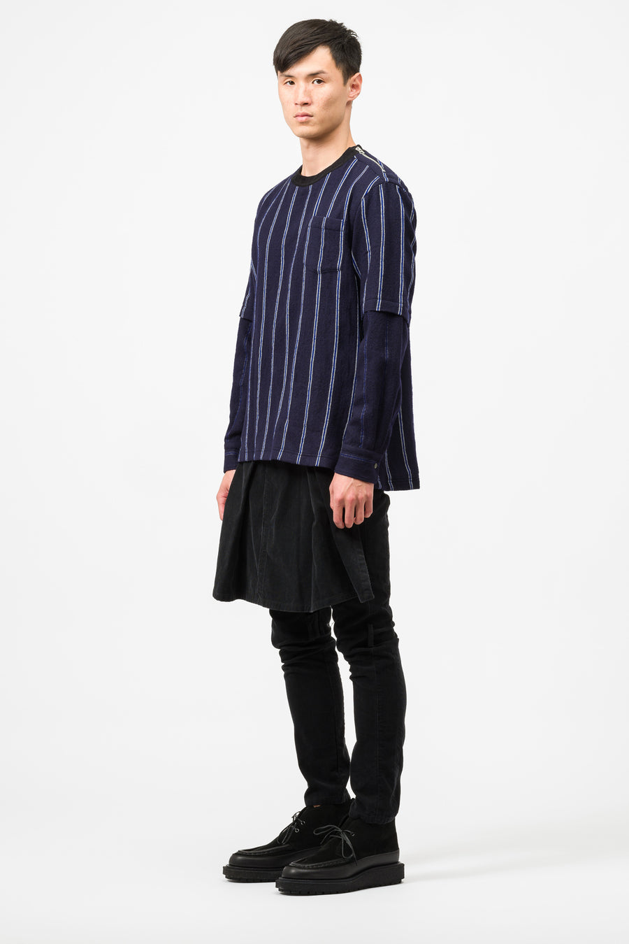 sacai Wool Stripe Pullover in Navy - Notre