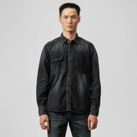 sacai x Dr. Woo Denim Shirt in Black - Notre