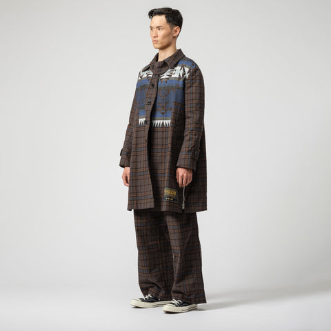sacai x Pendleton Coat in Brown/Blue Plaid - Notre