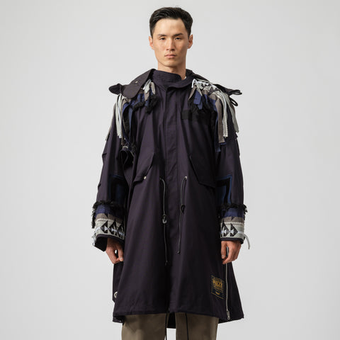 sacai x Pendleton Embroidered Coat in Navy - Notre