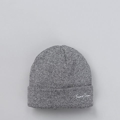 Second Layer Script Logo Cuff Beanie in Marled Grey - Notre