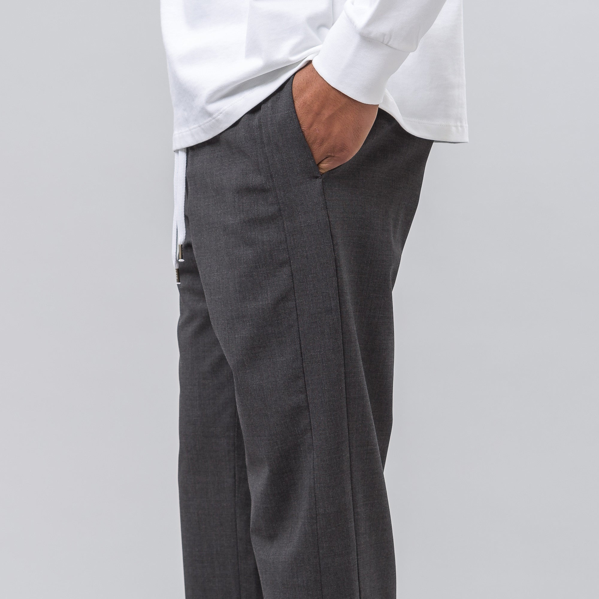 Elastic Waist Trouser in Charcoal