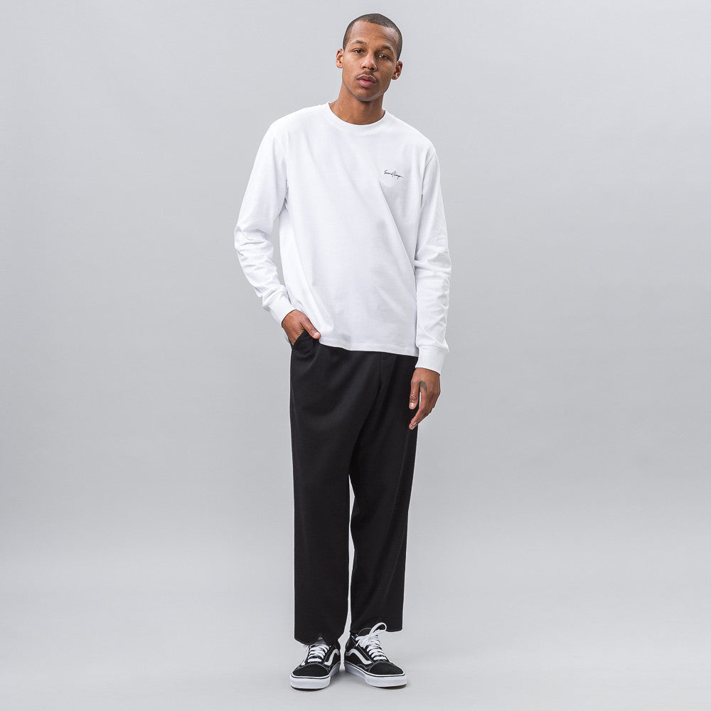 Second Layer Mockneck Long Sleeve Script Tee in White Notre 1