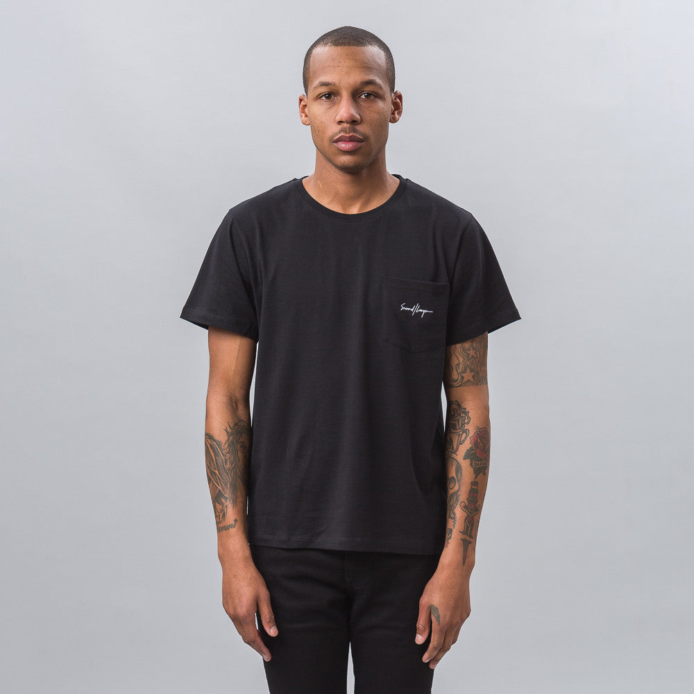 Second Layer Script Pocket Tee in Black Notre 1