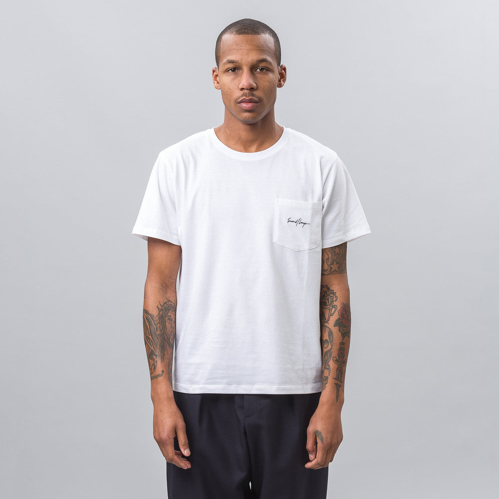 Second Layer Script Pocket Tee in White Notre 1