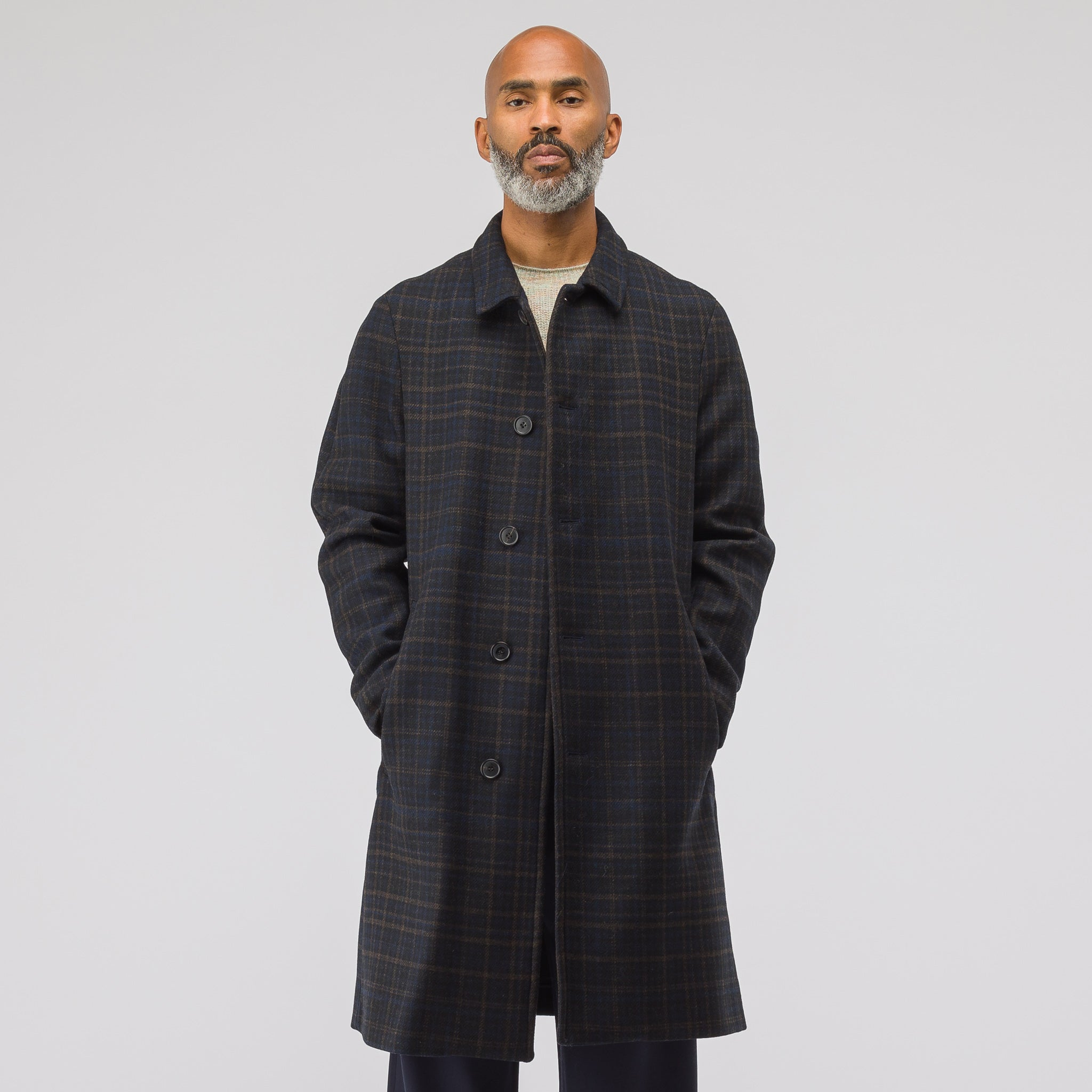 Weave Wool Coat in Checks