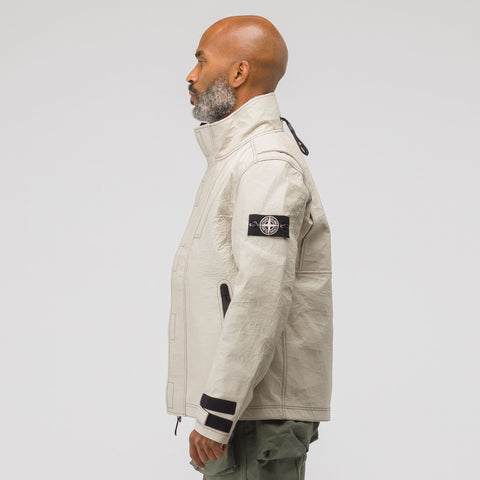 Stone Island 00199 Ice Jacket Bonded Leather in White - Notre