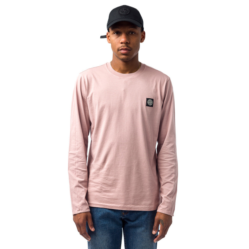 Stone Island 20541 L/S T-Shirt in Pastel Pink Model Shot