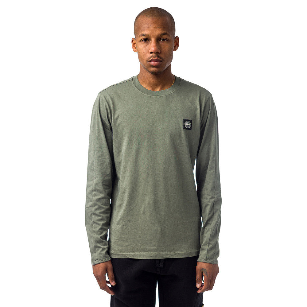Stone Island - 20541 L/S Logo Tee in Sage Green - Notre - 1